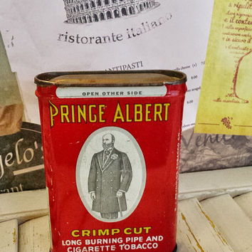 Vintage Prince Albert Crimp Cut Tin Can, 1.5 oz, Hinged Lid, Nicely Aged, Collectible Tin, Pipe Cigarette Tobacco, U.S.A, Antique To Display