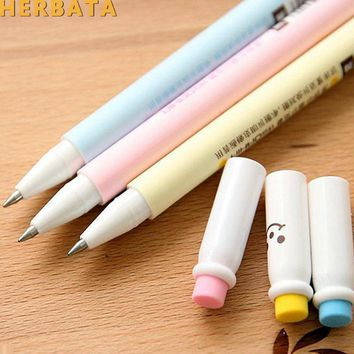 Free shipping 4pcs/lot 0.5mm Rubber Erasable Gel Pen New Candy Color Cute Gel Pen Kids Girls Writing Pens School Supplies CL1007