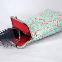 Sunglass Case - Light Mint Green with Red and Pink Flowers 100% cotton  - Silver Frame