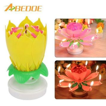 MDIGYN5 ABEDOE Musical Lotus Flower Happy Birthday Party Gift Music Candle Cake Topper Party Romantic Birthday Candle Light Lamp