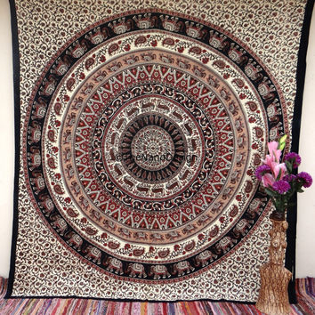 Elephant Hippie Boho Wall Tapestries, Mandala Tapestry Wall Hanging, Indian Bedspread Bohemian Room Décor, Dorm Bedding Tapestry Art