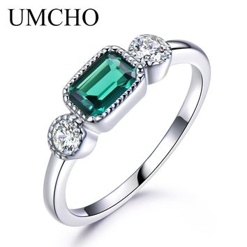 UMCHO Nano Russian Emerald Real 925 Sterling Silver Rings For Women May Birthstone Vintage Ring For Women Brand Fine Jewelry