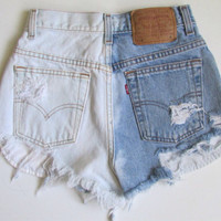 Half & Half Bleached High Waisted Shorts