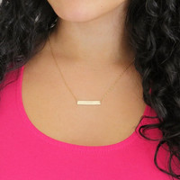 Trendy Gold Plated Long Bar Pendant Necklace For Women