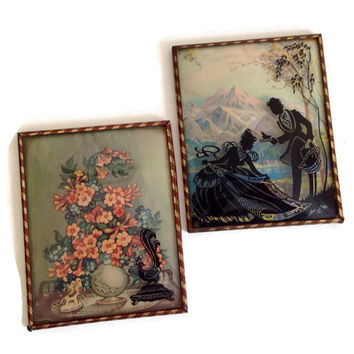 Reverse Painting Vintage Silhouette Pictures, Set of 2, Metal Frames, Victorian Couple and Florals, ColorPicture, Vintage Home Decor, 1930's