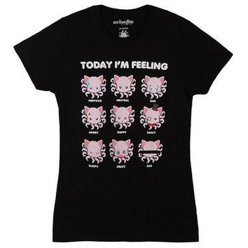 Tentacle Kitty Today I'm Feeling Emote Licensed Women's Junior T-Shirt - L