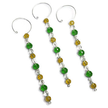 Green and Gold Christmas Tree Decorations - Glass Icicle Ornaments - Gift for Her - Beaded Christmas Ornament Set - Packer Football Ornament