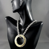 Art jewelry. Gold Olympic ring necklace. Donat necklace. Sterling silver, 24k gold. One of a kind jewelry
