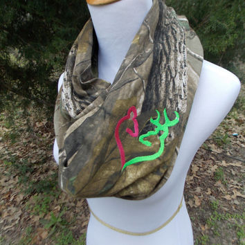 Real Tree Camo Infinity Scarf with Embroidered Doe and Buck Heart