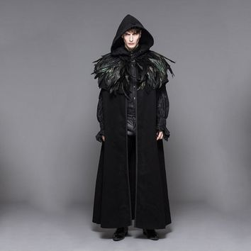 2017 New Gothic Punk Detachabl Mens Wool Cloak Cape Gothic Long Black Hooded Trench Coat Men Windbreaker Overcoat