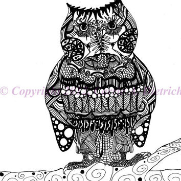 Black and White Art Pen and Ink Animals Owl Signed 8 x 10 Print Home Decor Design Drawing