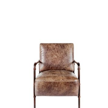 Livingstone Club Chair Light Brown Distressed Top Grain Leather