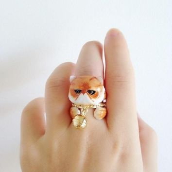 Mary Lou Orange Persian Cat with Bell Trio Ring