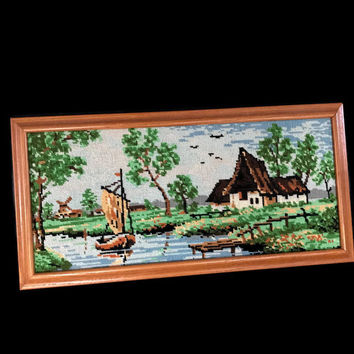 Vintage Needlepoint Wood Framed Country Cottage Waterside Scene with Sailboat Handmade Wall Art Home Decor Embroidery