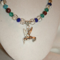 Hummingbird and Swarovski Crystal Beaded Necklace with silver toned tiny flower beads, gorgeous, gift