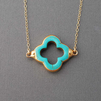 Turquoise Four Leaf Clover Gold Necklace also in Silver