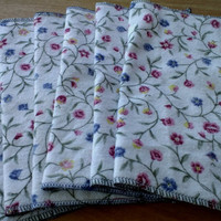 Flannel Flowers - Upcycled Lunchbox Napkins, Fabric Wipes Eco Friendly, 2 Layer Cotton Flannel, Set of 6