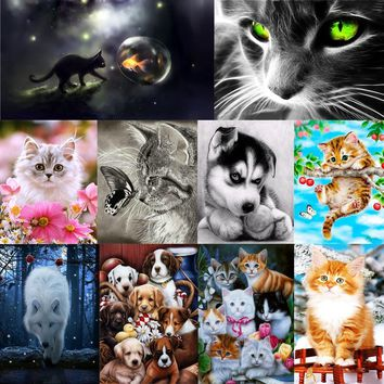 10 Types Cat Dog Wolf Embroidery Painting 5D DIY Animals Diamond Painting Home Decoration Paintings