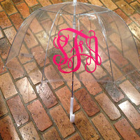Clear bubble umbrella with vine monogram initials- Adult (46 inches), monogram umbrella