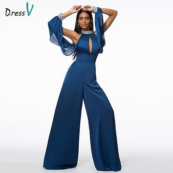 Dressv navy sheath&column long sleeves evening dress high neck beaded sequins formal party dress hollow long evening dress
