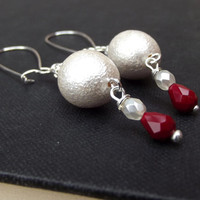 Snow White Christmas Earrings: Velvety Red Drop Dangle Earrings, Winter Wonderland Sparkle Holiday Jewelry