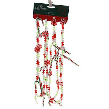Christmas RED GREEN WHITE CANDY GARLAND Plastic Decorative D2999 Cane