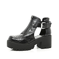 River Island Womens Black patent croc chunky cut out boots