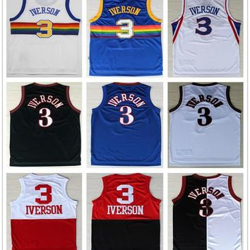 Throwback 3 Allen Iverson Basketball Jerseys Retro Rainbow Blue Red Black White Georgetown Hoyas Allen Iverson Sports Shirt College Jersey