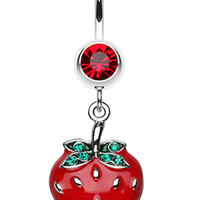 Vibrant Strawberry Dangle Belly Button Ring