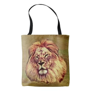 African Brown Lion Art All Over Print Tote Bag