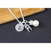 Women's Personalized Initial Tooth Charm Necklace - Silver