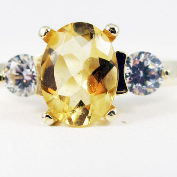 Citrine Oval 14k Yellow Gold CZ Accent Ring, November Birthstone Ring, Solid 14 Karat Gold Ring, Citrine Oval Ring, Yellow Gold Ring