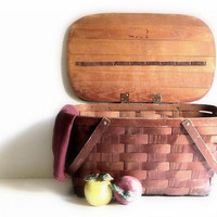 Vintage Jerywil Wov-N-Wood Two Handle Picnic Basket Kitchen Farmhouse Decor Photo Prop