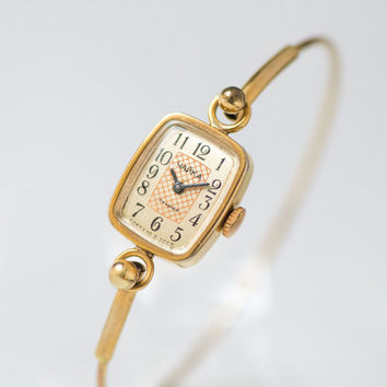 Small watch bracelet Seagull - rectangular cocktail watch gold plated - women watch ornament face - petite lady watch gift - mid size watch