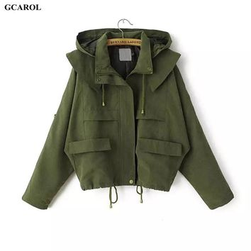 Woman Brand Hooded Trench Fashion Casual Draw String Coat Spring Autumn Girl's Oversized Street Wear Short Coat