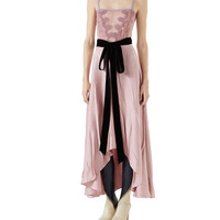 Gucci Double Satin Dress w/ Lace Insert & Tie Waist