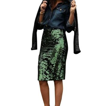 Green Glitter Me Crushed Sequin Pencil Skirt