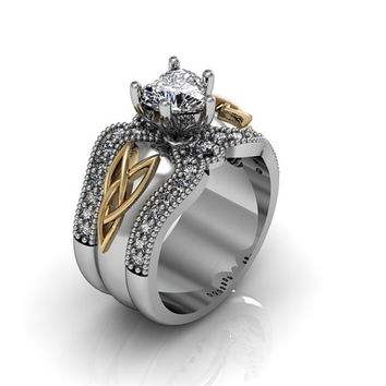 Sterling Silver and 14k Yellow Gold Heart Cubic Zirconia  Celtic Knot  Love and Friendship Engagement and Promise Solitaire Trio Ring Set