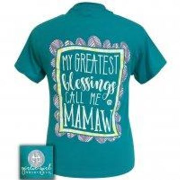 "Girlie Girl ""Blessings Mamaw"" Short Sleeve Tee"
