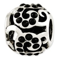 Reflection Beads Sterling Silver Black Crystal Swirl Bead (10 x 10 mm)
