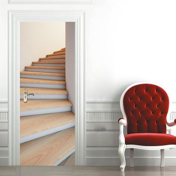 Imitation Stairs 3D Door Wall Stickers Waterproof DIY Mural Poster PVC Self-adhesive Decals Door Sticker Home Decor
