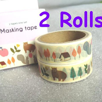 Kawaii Forest animal washi tape brown bear twin Squirrel farm house tree birds masking tape fruit paper tape fairy tale animal Tape set