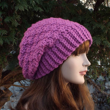 Orchid Slouchy Crochet Hat - Womens Slouch Beanie - Light Purple Oversized Cap - Chunky Hat