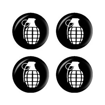 Hand Grenade White on Black - Set of 3D Stickers