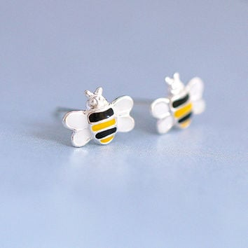 Enamel Cute Bee Earrings, Sterling Silver Bee Stud  Earrings,insect earrings,bumble bee earrings,honey bee earrings,gift for her,bee jewelry