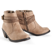 PS from Aero  Girls Strappy Heeled Ankle Booties - Beige