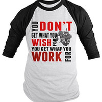 Shirts By Sarah Men's Football Shirt Get What Work For 3/4 Sleeve Raglan Shirts