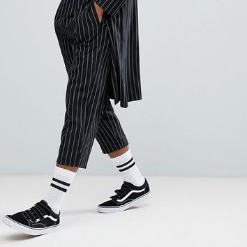 Reclaimed Vintage Inspired Relaxed Cropped PANTS In Stripe at asos.com
