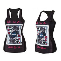 Cheshire Cat Card - We're All Mad Here - Pop Culture Printed Camisole Tank Top