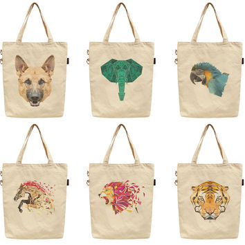 Women Animals In Geometric Printed Canvas Tote Shoulder Bag WAS_40